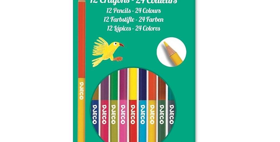 Les couleurs - 12 crayons doubles - 24 couleurs