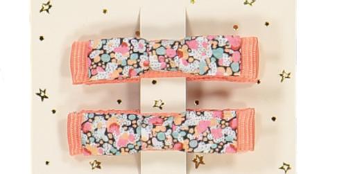 Barrettes mini kimono Pepper corail
