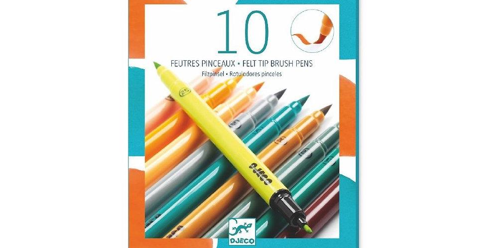 Les couleurs - 10 feutres pinceaux nouveau