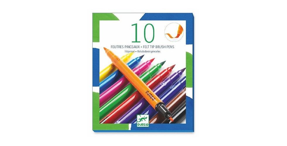 Les couleurs - 10 feutres pinceaux classique