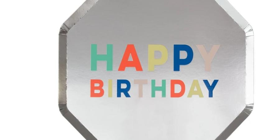 8 grandes assiettes - Happy Birthday