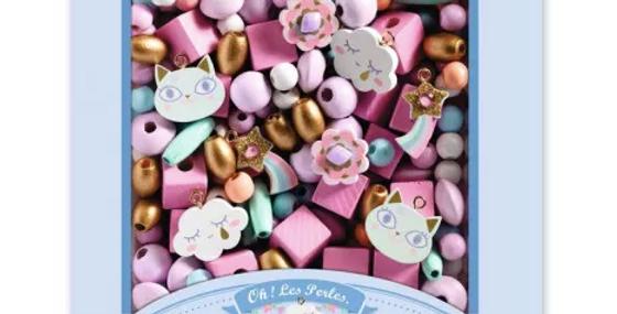 Perles en bois - Arc en ciel