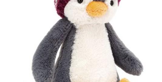 Bashful Bobble Hat Penguin Burgundy