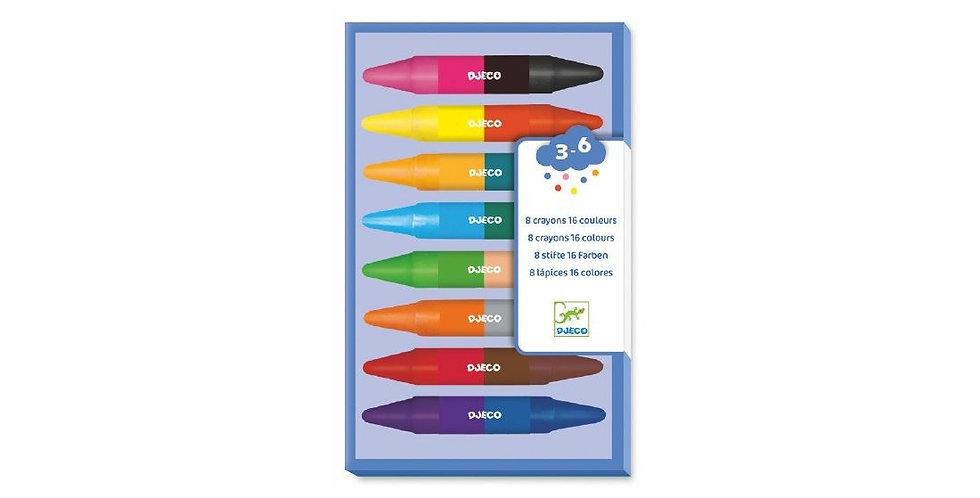 Les couleurs - 8 crayons doubles 16 couleurs