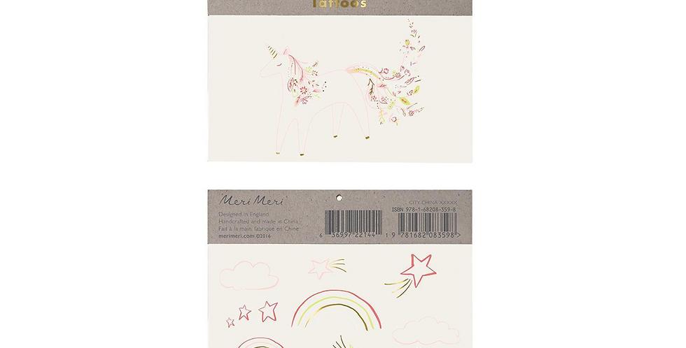 2 rainbow floral unicorn tattoo