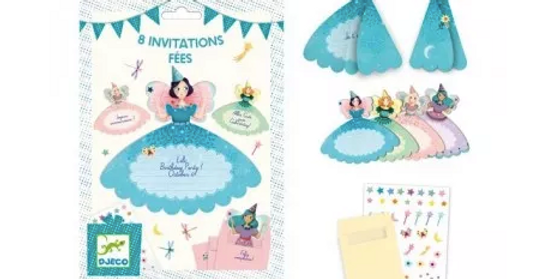 Fêtes - 8 cartes d'invitations Fées
