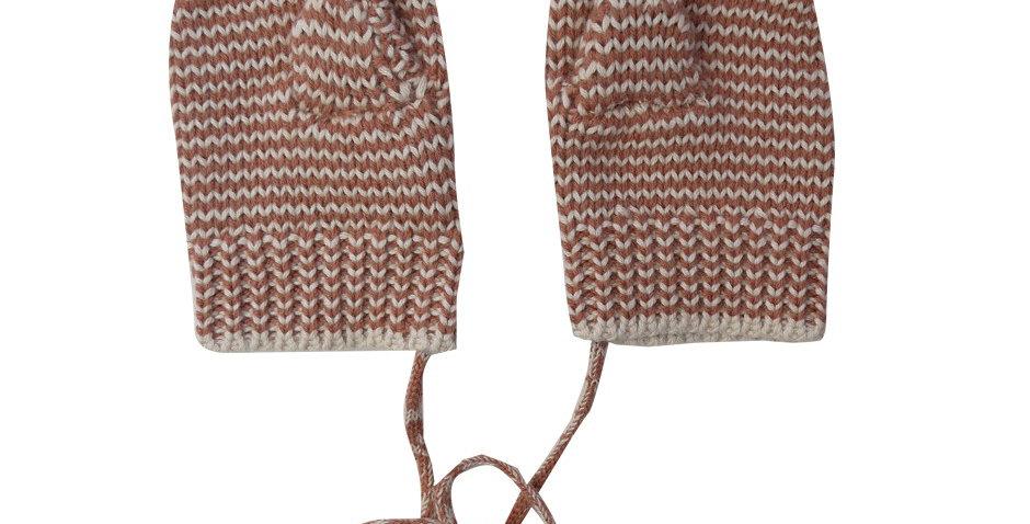 Moufles rayées brun