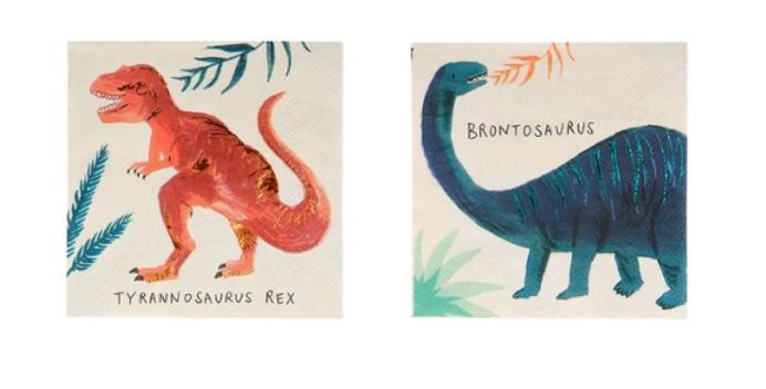 16 petites serviettes- Royaume des dinosaures