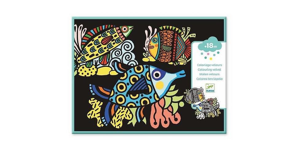 Coloriage velours - Jolis poissons