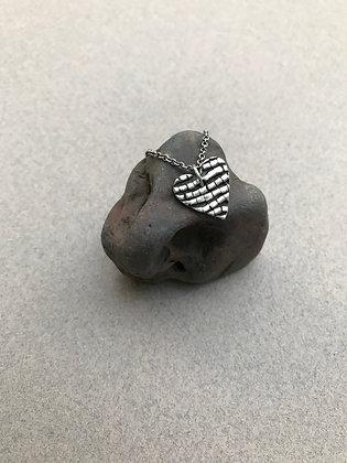 Silver Brick Road Necklace -Heart