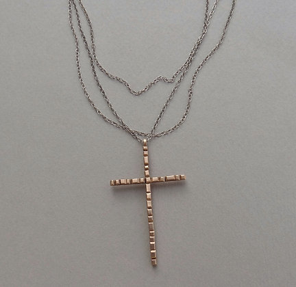 Bronze Cross Necklace - Paved Ways #2