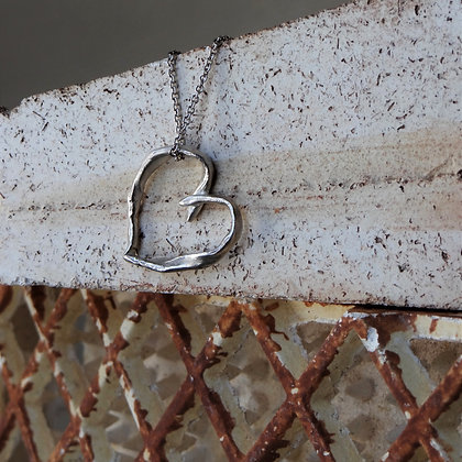 Hand Formed Silver Heart Necklace