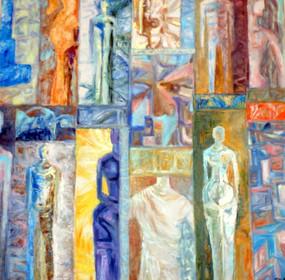 Marie Sibaiová ,olej na plátně 100x100 ,
