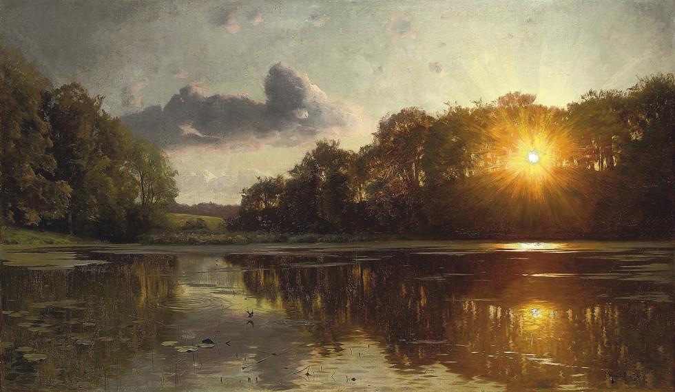 Peder_Mønsted_-_Sunset_over_a_forest_lak