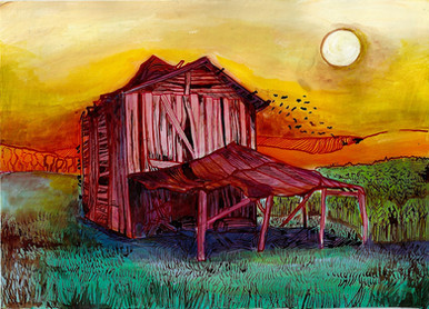 Lone farm, acrylic and pendrawing on pap