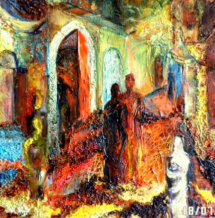 Marie sibaiová olej na plátně 40x40 ,,ul