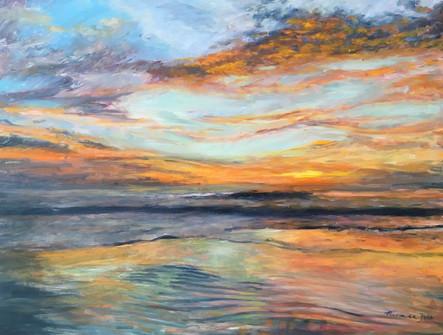 Sunrise+at+Diggers+-+Oil+on+Aluminium+Pa