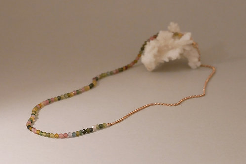 "Necklace ""Asymmetry"" with multicolor tourmalines"