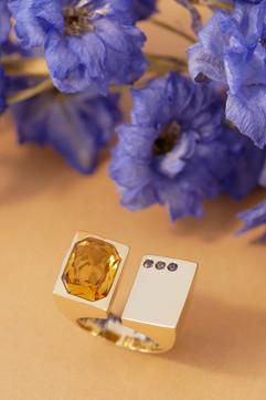 Ring Gelbgold, Citrin und Iolith-Copyrig