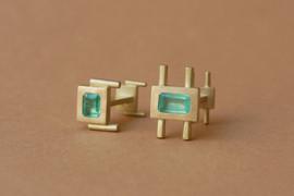 TUKOA-Manschetteknöpfe Gold & Smaragd.jp