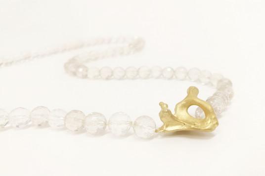 Necklace gold-plated silver & quartz-det
