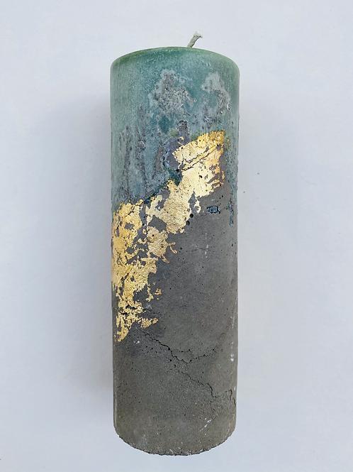 Bougie ciment dorée émeraude