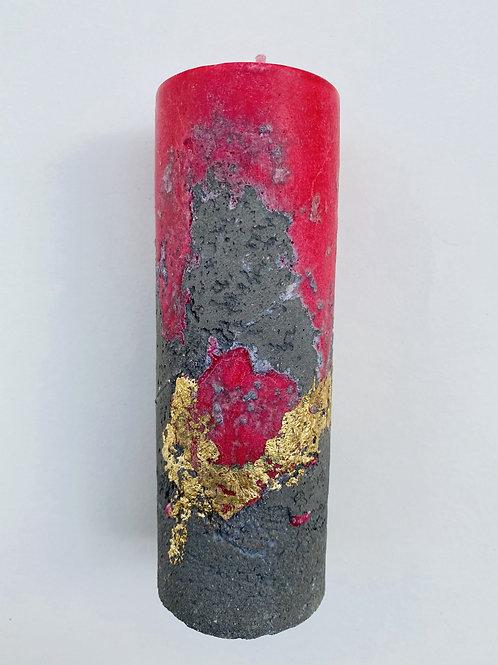 Bougie ciment dorée rouge