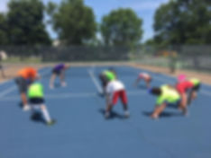 Tennis camp stretching