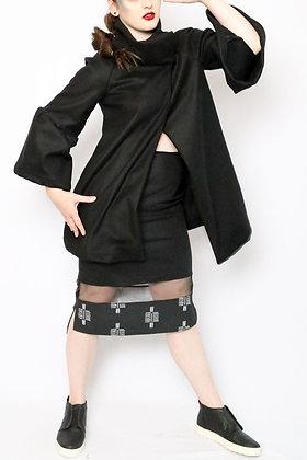 Isis Ruffle Sleeve Swing Coat in Black