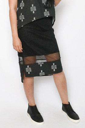 Isis Sheer Hem Skirt in Black
