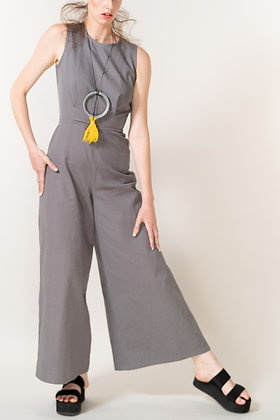 Dana Pallazo Wide Leg Pantsuit in Grey