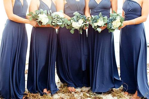 vestido basico largo azul marino