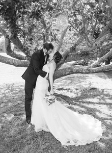 black and white image of a bride and groom kissing under a tree at Saybrook Point Inn