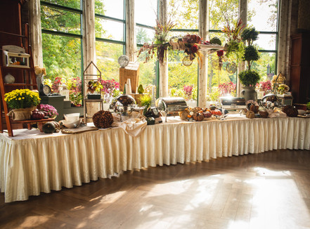 autumn buffet table and decor at Pond House Cafe wedding
