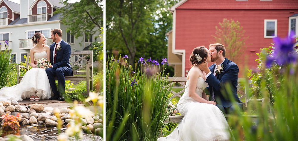 Bride and groom sitting on a bench and kissing in the garden at Saybrook Point Inn