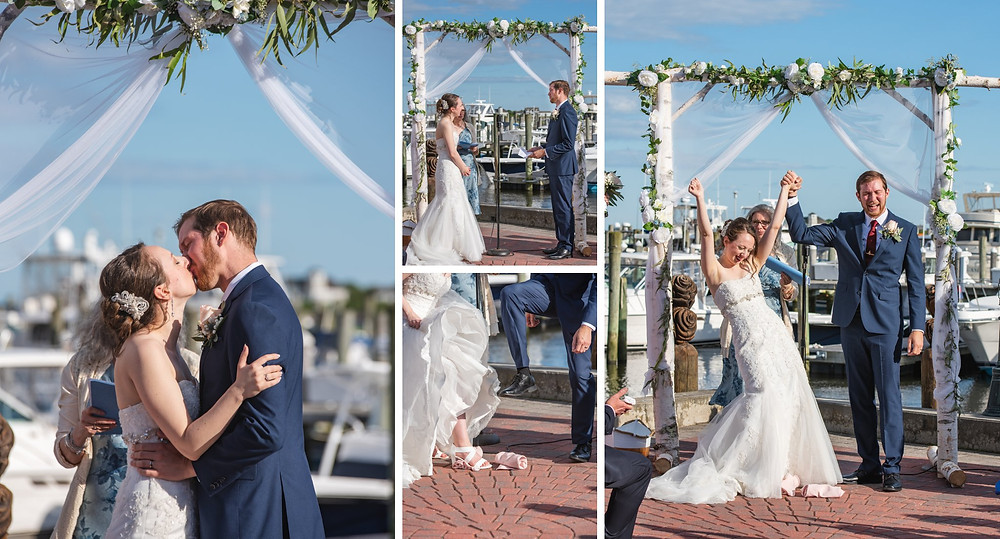 Saybrook Point Inn wedding ceremony with a Jewish breaking of the glass ritual