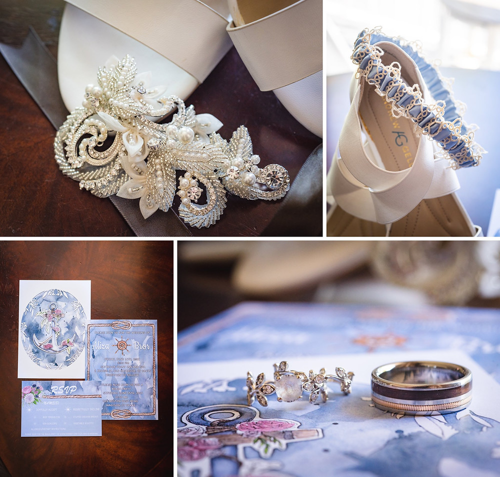 wedding rings, stationery and bride's details from a nautical themed wedding at Saybrook Point Inn in CT