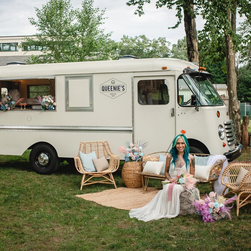 Queenie's Cocktail Bar truck at a backyard wedding
