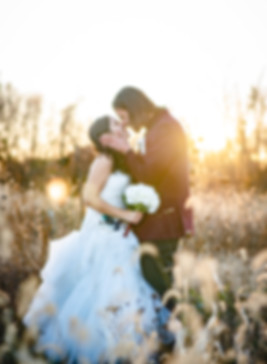 wedding photo of a couple kissing in a grass meadow at sunset taken by a Connecticut wedding photogapher
