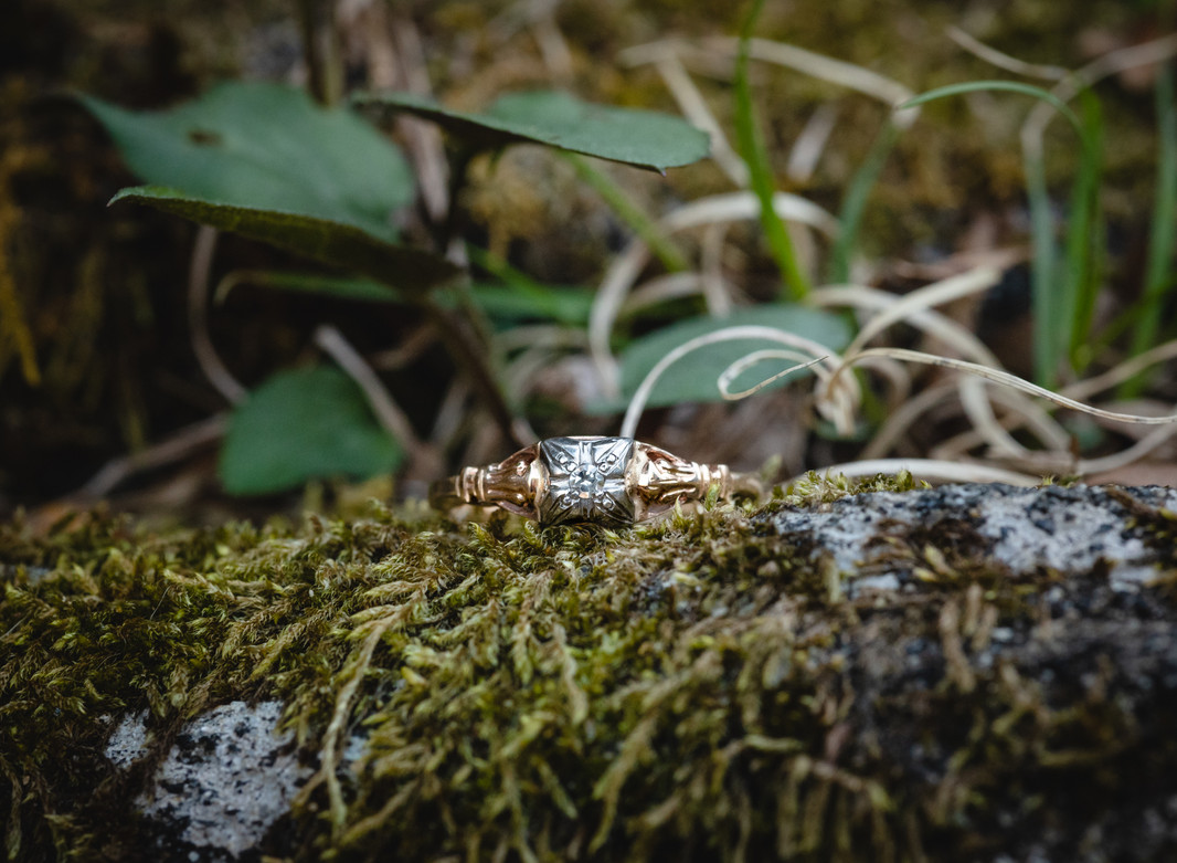 vintage engagement ring on moss in CT