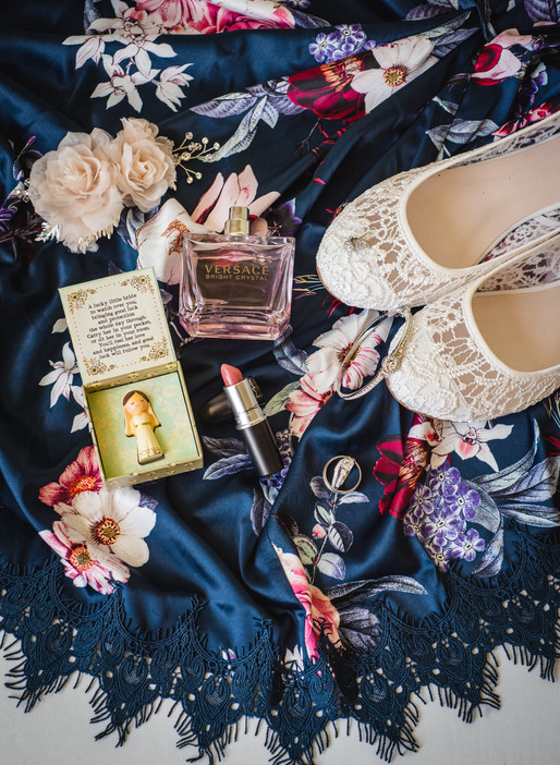 bridal accessories flatlay photography