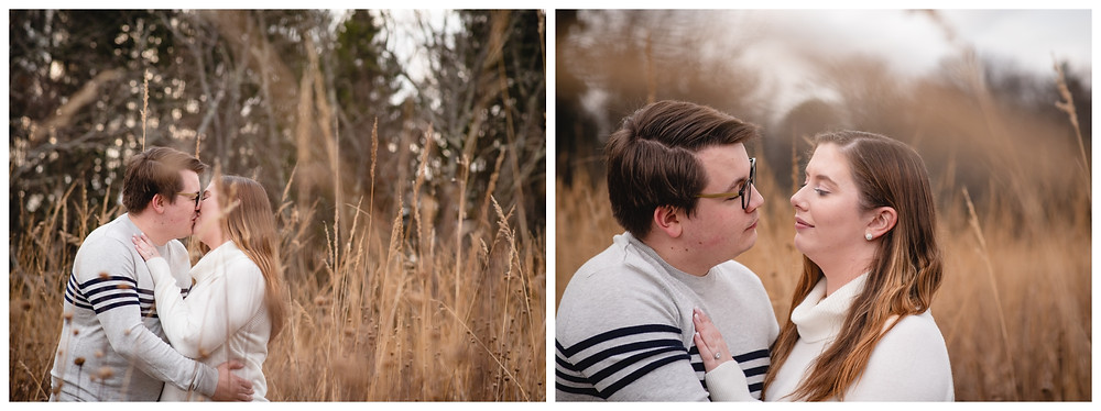 couple kissing in a tall grass field for their engagement portraits at Valley Falls in Vernon CT