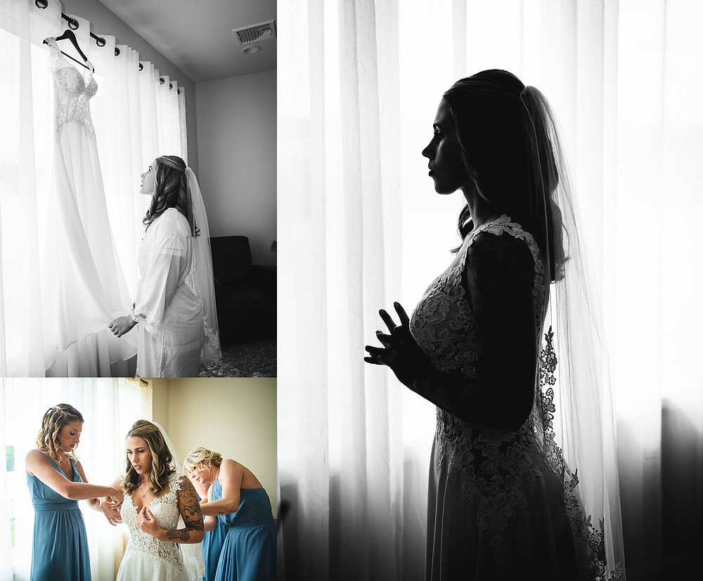 Connecticut bride getting ready on her wedding day