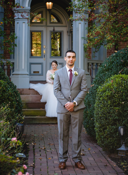 wedding couple's first look at Mount Crescent House