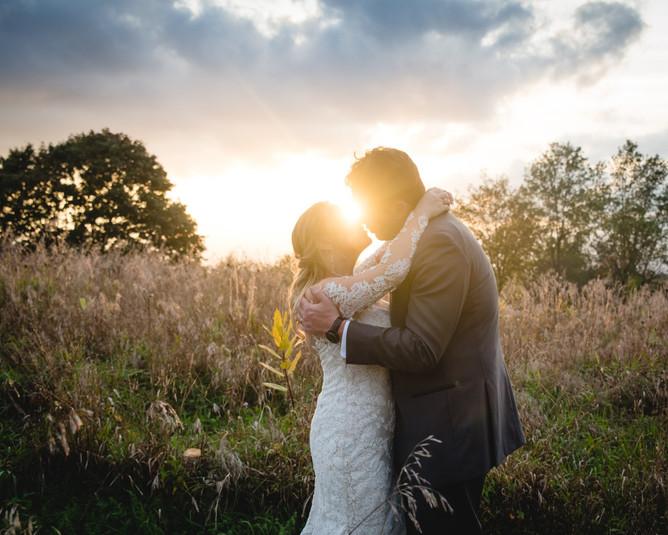 Massachusetts elopement photo of bride and groom kissing