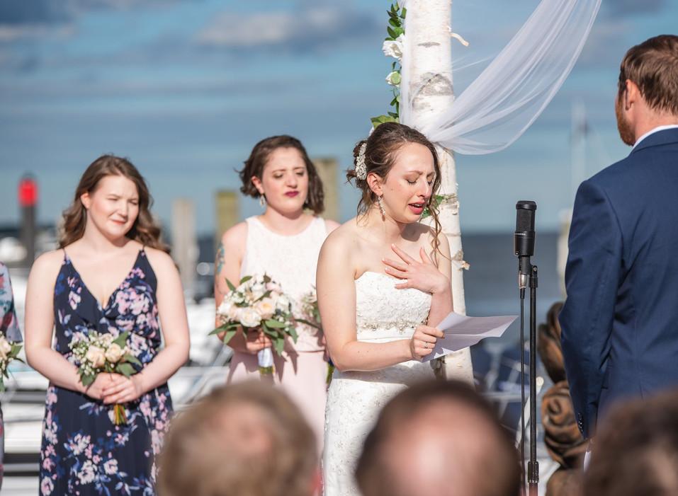 Saybrook Point Inn & Marina wedding ceremony - bride reading her vows