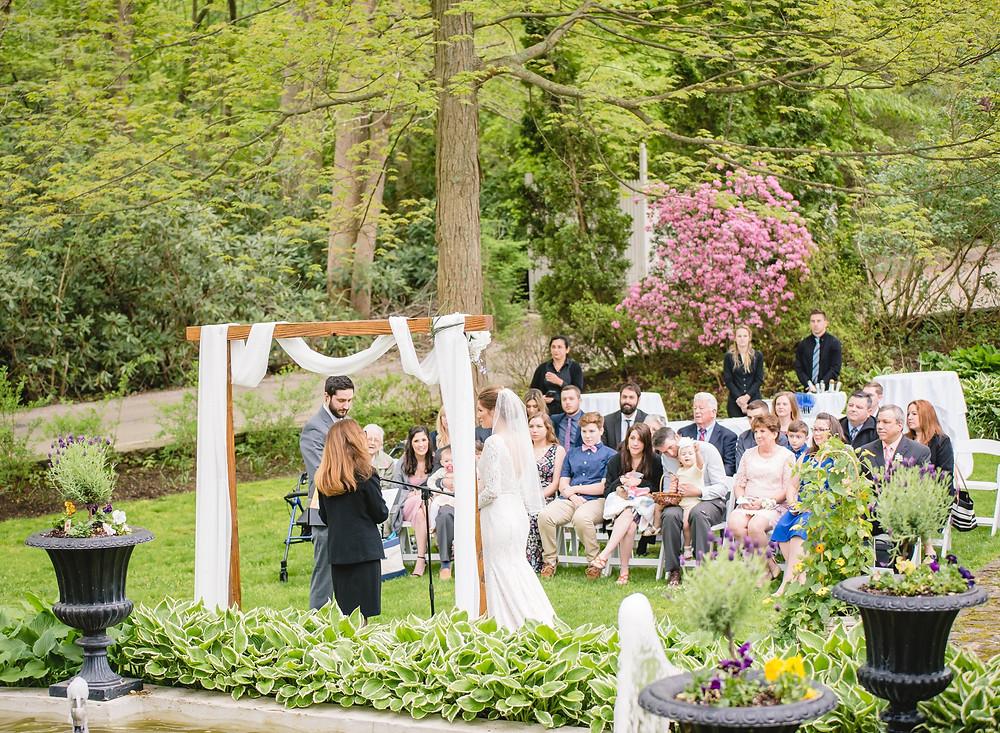 micro wedding in a garden at the Copper Beech Inn in CT