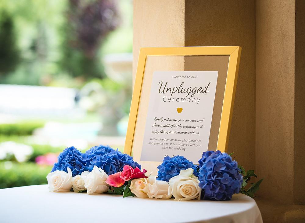 Unplugged Wedding Ceremony Sign - CT Wedding Photographer