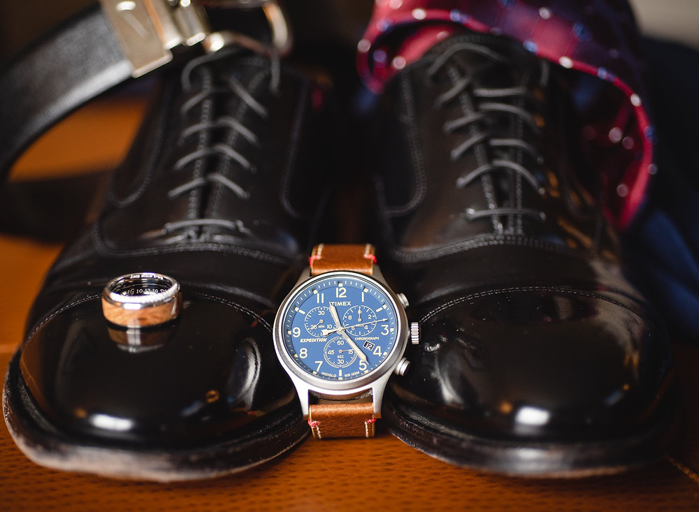groom's wedding day details including watch and shoes