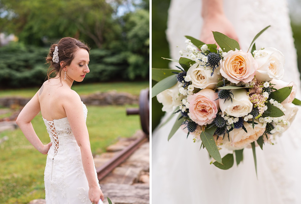 bridal portrait with bouquet at historic Saybrook Point Inn wedding | CT wedding photography